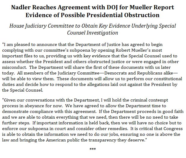 Today, we announced an agreement with the DOJ for #MuellerReport evidence of possible presidential obstruction. @HouseJudiciary will obtain key evidence underlying the Special Counsel investigation. https://nadler.house.gov/news/documentsingle.aspx?DocumentID=393946 …