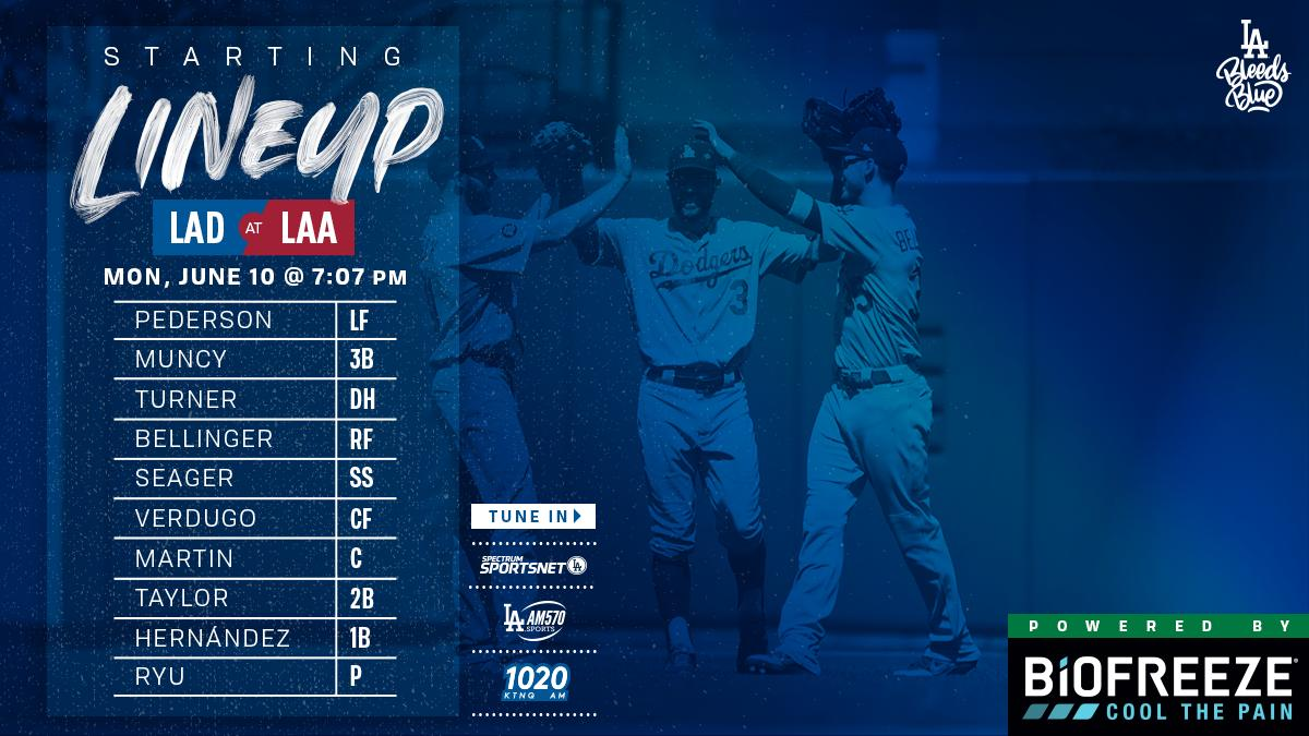 Tonight's Dodger lineup at Angels: Pederson LF Muncy 3B Turner DH Bellinger RF Seager SS Verdugo CF Martin C Taylor 2B Hernández 1B (Ryu P)  #Dodgers   @Biofreeze