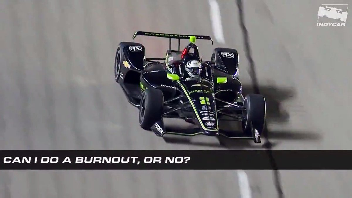 """You can do whatever you want."" @josefnewgarden had some fun with his burnouts but had to get the OK from the Captain. #INDYCAR @Team_Penske"