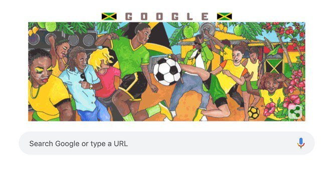 Did anyone else notice the #GoogleDoodle supporting the #ReggaeGirls? It was created by the Jamaican artist @RobinClare who has worked with major sports brands and companies like Google inc.  #OneLove #VisitJamaica #Sports #Football #Women'sWorldCup2019 https://t.co/oGpi1aHTOX