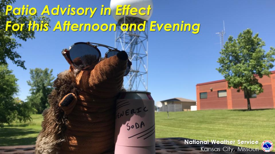 """Before shouting, """"Catch you on the flip side!"""" and sashaying out of here, Ork issued a patio advisory and then promptly took an hour of comp time. We can't fault him and suggest (if your boss approves) you should find a patio too. #mowx #kswx #KC #Patio #Ork"""