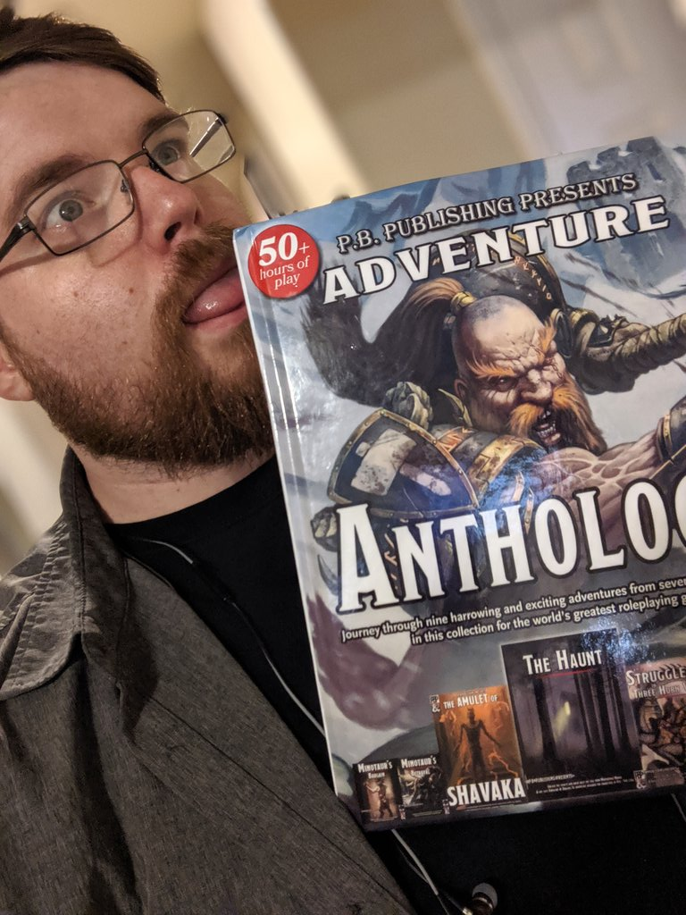 """I have failed my #Dnd wife, @mercyfuldm and the wonderful folks at @dms_guild - they slipped me a thank you gift at #dndlive2019 and suggested I """"do a twit"""" as thank you. I neglected that twit till now.  Thanks for the book! It's awesome! @PBPublishing1 be praised.<br>http://pic.twitter.com/jSTSabM15N"""