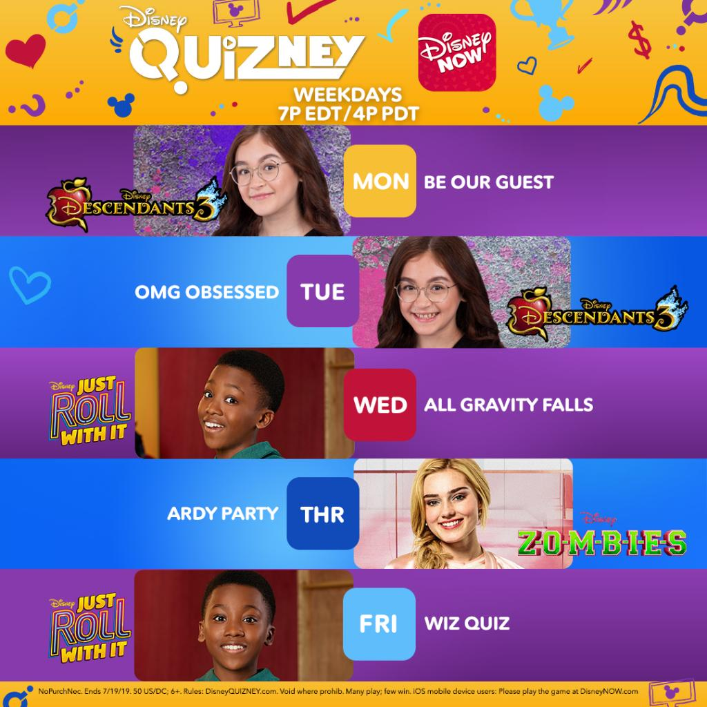 This weeks #DisneyQUIZney hosts are @annacathcart, @ImMegDonnelly, and #RamonReed! Play QUIZney weekdays at 7pm EDT | 4pm PDT in DisneyNOW for your chance to win $100: di.sn/6000E5A6Q