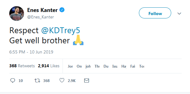 大帝怒噴慶祝KD受傷的球迷,Kanter送上祝福,韋德:他明知還沒恢復仍然堅持戰鬥!-Haters-黑特籃球NBA新聞影音圖片分享社區