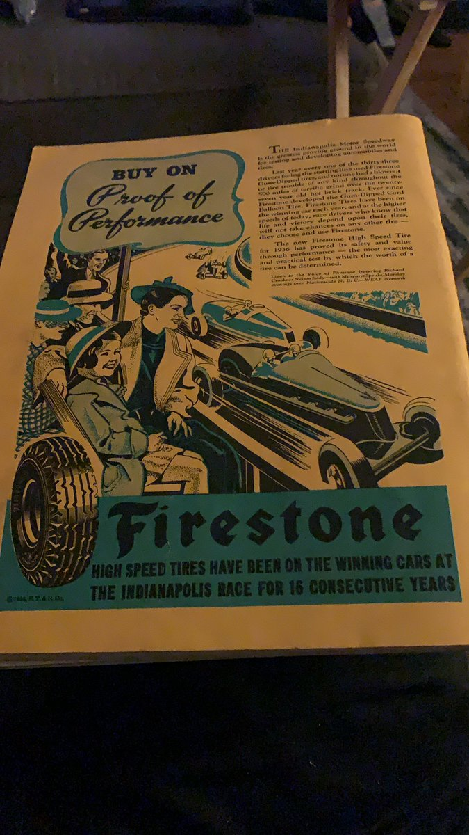 The back of the 1936 Indianapolis 500 program. @FirestoneRacing @Cara_Adams