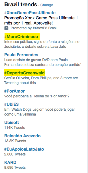 Interesting trending topics in Brazil - quite reflective of the mood here: