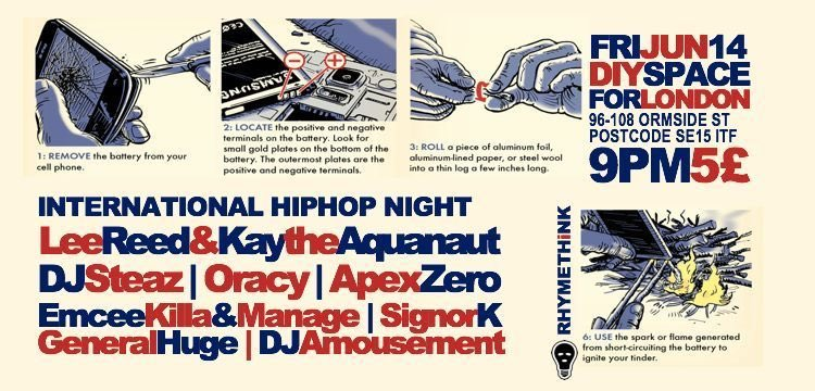 Late night militant hip-hop on Friday Lee Reed & Kay The Aquanaut / International HipHop Night Friday 14 June @ 9:00 pm - 3:00 am £5 diyspaceforlondon.org/event/lee-reed…