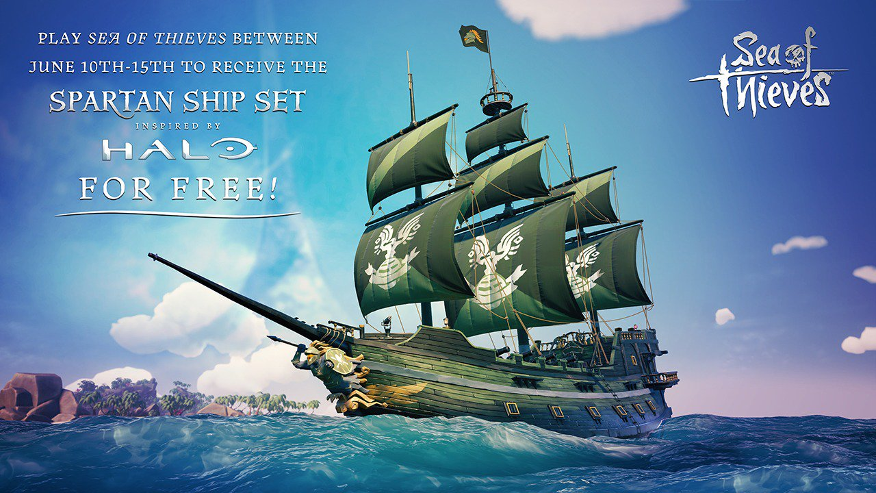 Play Sea of Thieves between June 10th and 15th to receive the Spartan Ship Set inspired by Halo for free! The Spartan Ship Set features a Master Chief figurehead, green and white hull, sails and flag!