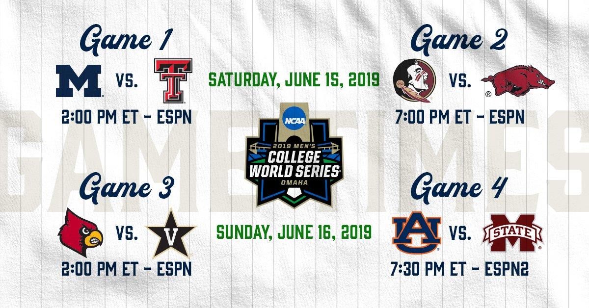 Cws 2019 Schedule NCAA Baseball auf Twitter: