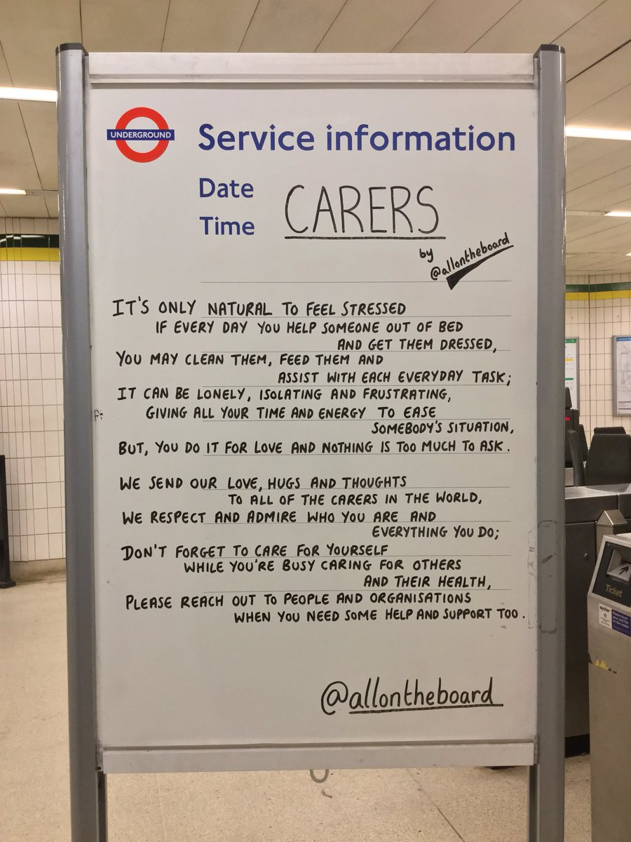 It's #CarersWeek. To the Carers in the U.K. and all over the World, please reach out to people and organisations when you need some help and support too. @allontheboard #CarersWeek2019 #Carers #YoungCarers #SupportWorkers #MentalHealth #Health #Help #Support #Care #YouMatter