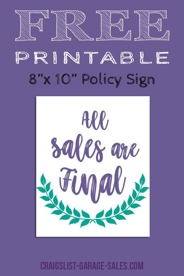 Avoid misunderstandings... Grab a Free, Printable 'All Sales Final Sign' for your upcoming garage sale! (No sign-up required.)  #freeprintables #allsalesfinal - http://bit.ly/2KFc60x