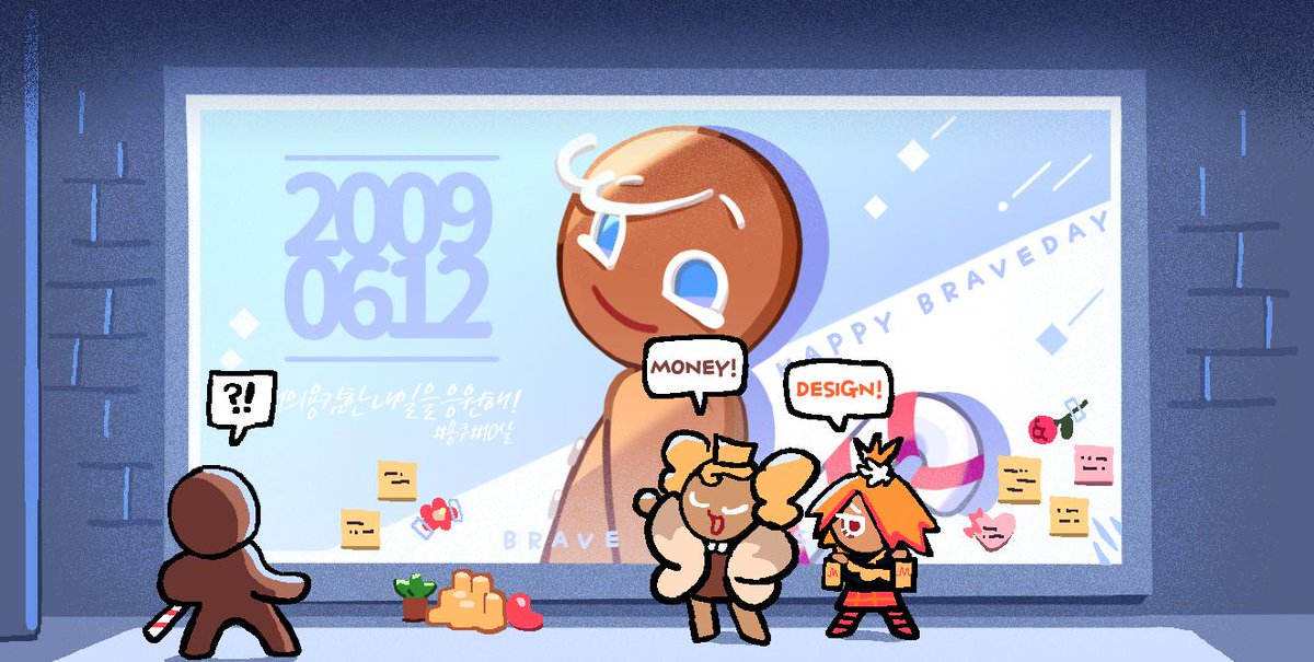 Hey! GingerBrave, there are still a few surprises left! Mustard Cookie and Cheesecake Cookie got together and made you a birthday billboard! #GingerBrave10th <br>http://pic.twitter.com/Ttx6NgN36z
