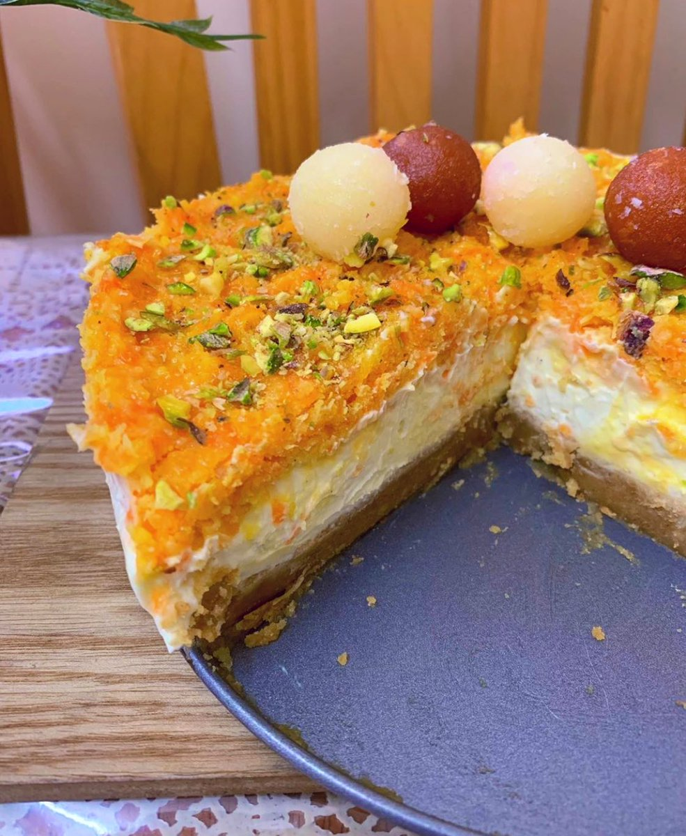 Not trying to divide the ummah but....ladies and gentlemen, brace yourself for: gaajar halwa cheesecake....topped with none other than gulaab jaamuns <br>http://pic.twitter.com/lRzvpXUKxw