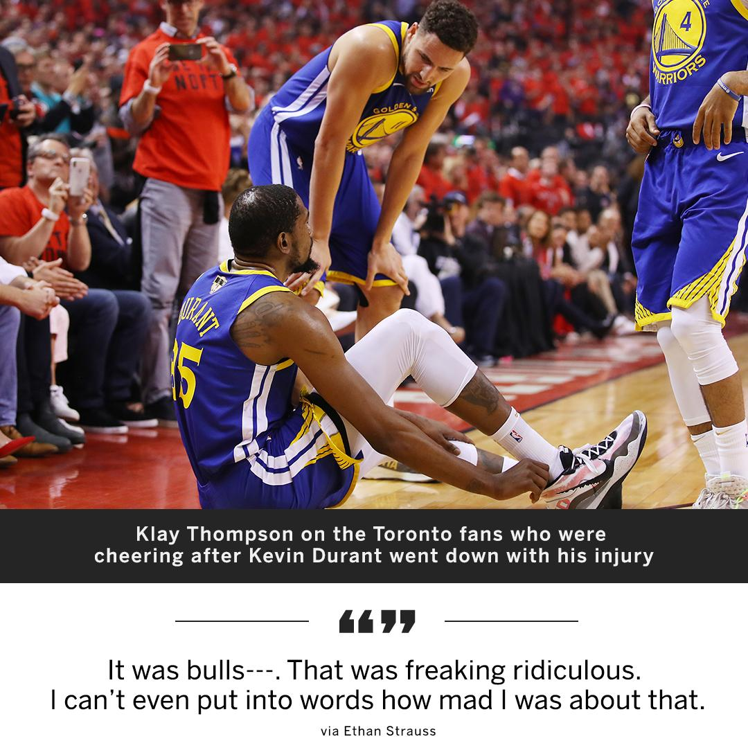 "Klay said it was ""bulls---"" that Toronto fans cheered when KD got injured."
