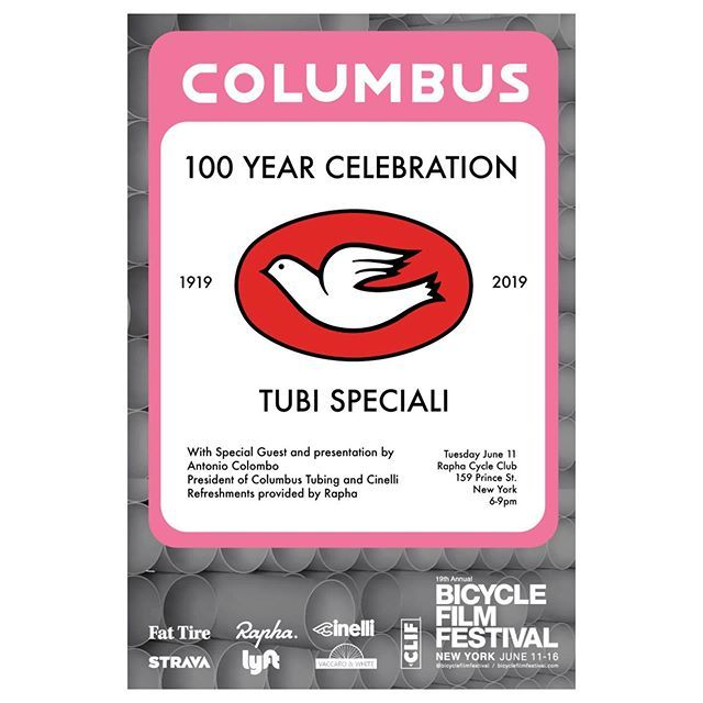 Today @bicyclefilmfestival kicking off with @raphanyc event with a special presentation by @antonio_colombo for 100th Anniversary of @columbus_official We'll see you there 6 PM. #livetoridenyc #columbustubing #bicyclefilmfestival #rapha #cinelliusa http://bit.ly/2Ix9bUP