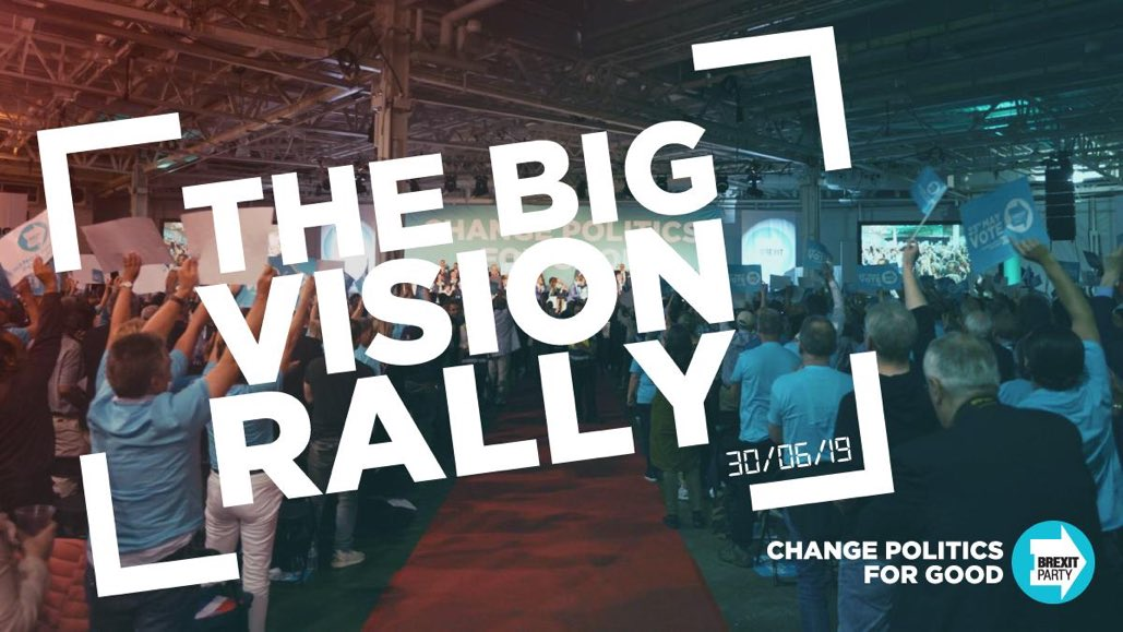 Get your tickets now for The Big Vision Rally at Birmingham's NEC. You won't want to miss this one. thebrexitparty.org/events