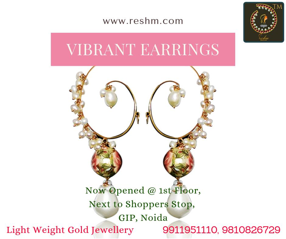 Vibrant Colors Gold Earrings by Reshamm Shop now:  or Visit our store @ 1st Floor Next to Shoppers Stop GIP Noida #reshamm #Lightweightgoldjewellery #jewelleryinnoida #jewelleryindelhi #jewelleryinncr #goldlovers #jewelleryfans #fashion #designerjewellery