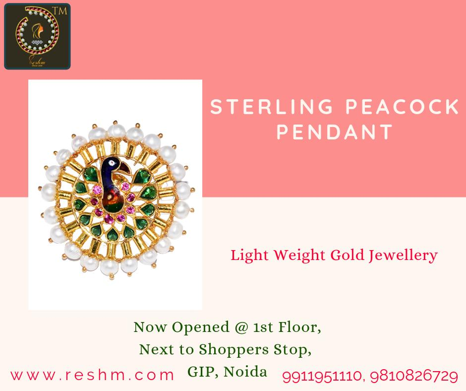 Sterling Peacock Pendant by Reshamm Shop now:  or Visit our store @ 1st Floor Next to Shoppers Stop GIP Noida #reshamm #Lightweightgoldjewellery #jewelleryinnoida #jewelleryindelhi #jewelleryinncr #goldlovers #jewelleryfans #fashion #designerjewellery