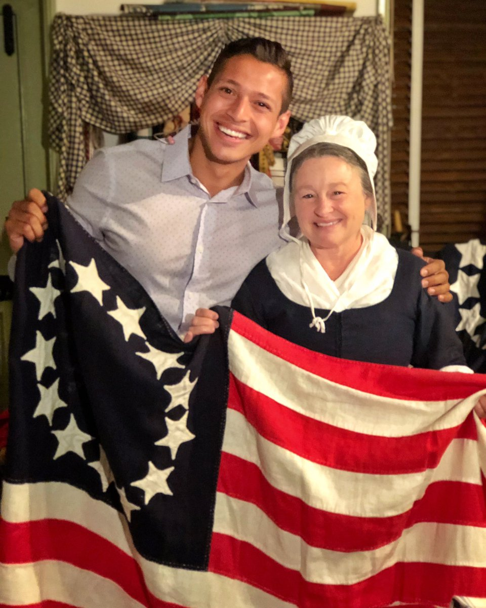 It's Flag week and I made a new friend!  The one and only Betsy Ross   Lots going on this week at her house including an official flag day naturalization ceremony Friday and flag fest Saturday! || @BetsyRossHouse  @NBCPhiladelphia<br>http://pic.twitter.com/3cgPCYyzd2