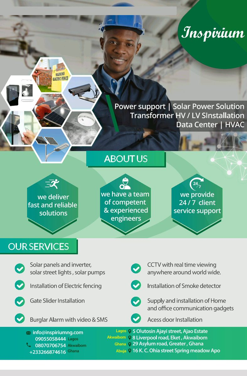 Do you want to fix/install CCTV, Solar Panel and inverters, electric fencing, supply of home and office equipments and gadgets? Here's your plug @Inspiriumng both local and international #FreeAd #DemocracyAt20 #TuesdayThoughts #Inspirium #NBAFinals2019 please help RT.<br>http://pic.twitter.com/enlOAi5k3j