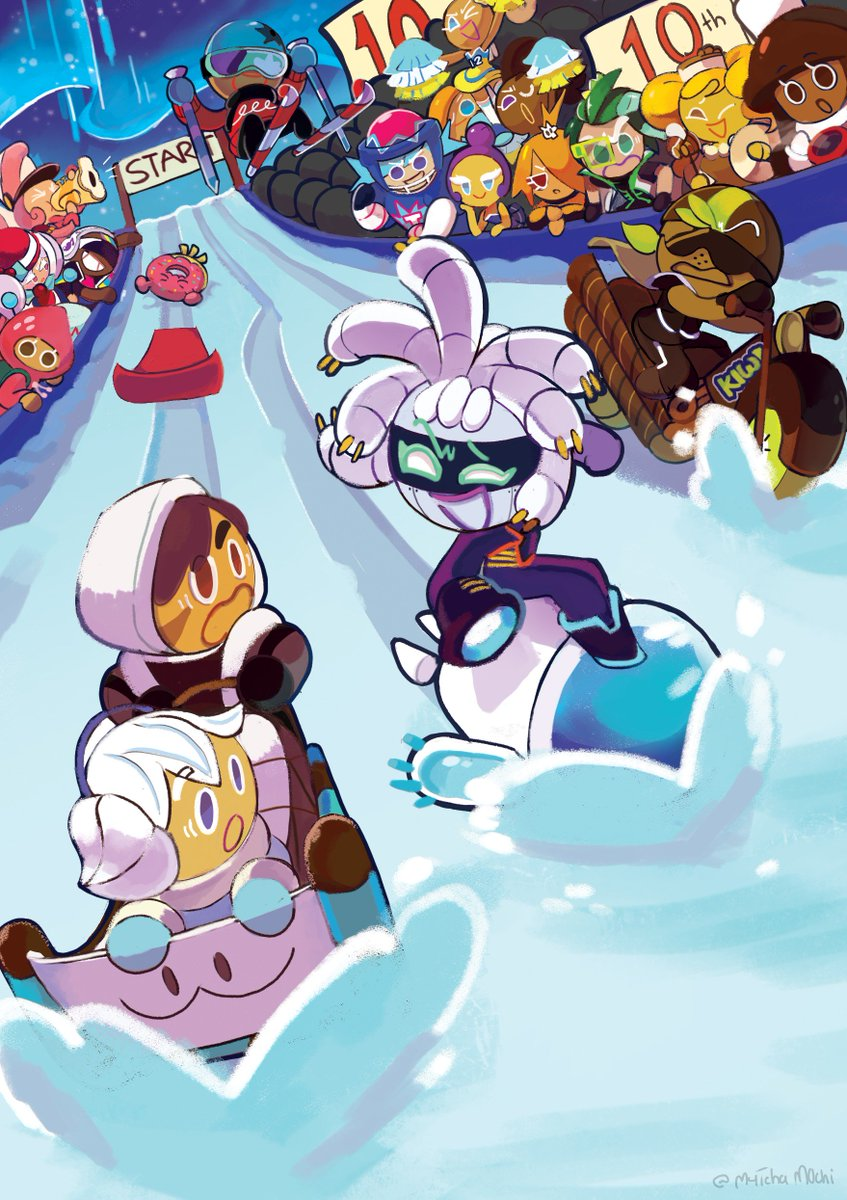 Happy 10th anniversary Cookie Run! Here's my piece for the anniversary fan artbook hosted by @cookierunupdate, its been a pleasure to be a part of it!  Some new faces show up for the Cookie's annual sled race, who are these cookies? #cookierun #GingerBrave10th #CRFanArtBook<br>http://pic.twitter.com/WQJNbIdjZy