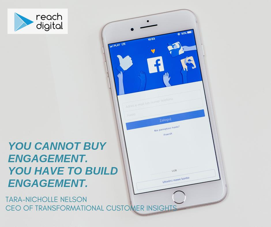 """""""You cannot buy engagement. You have to build engagement."""" –Tara-Nicholle Nelson, CEO of Transformational Customer Insights#WisdomWednesday #ReachDigitalMI"""