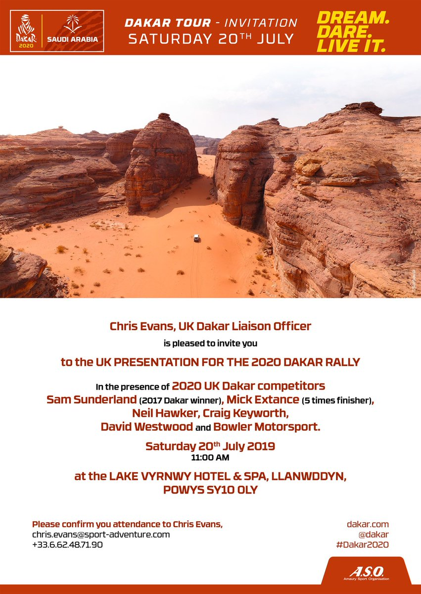 Come and learn about the Dakar as it enters the third chapter of its life with the move to Saudi Arabia, at the picturesque Lake Vyrnwy Hotel.  Bowler Motorsport will be there with a Desert Spec Rally Raid Bulldog and their Factory Support Truck.  #BowlerMotorsport #Dakar2020 <br>http://pic.twitter.com/gwkHMngW5T