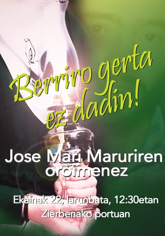 Jose Mari Maruri, familiar de Zierbena, fallecido en accidente de tráfico cuando iba a visitar a su hijo preso, el 22 de junio de 1998. Este año celebraremos un acto en su memoria ¡Stop a la política de dispersión! #stopdispersion