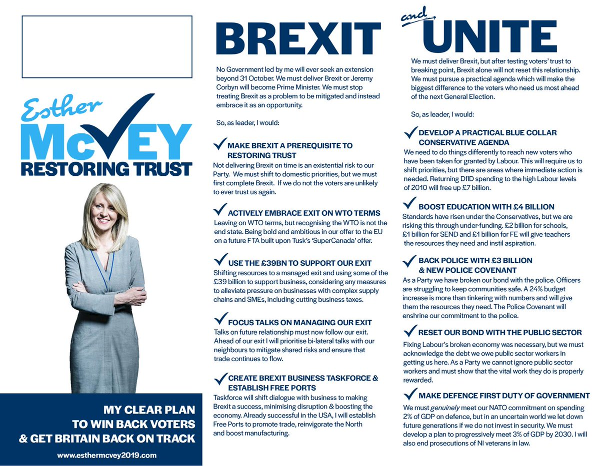 Exc: Heres the leaflet @EstherMcVey1 has sent round to all Tory MPs setting our her #ToryLeadership policy platform
