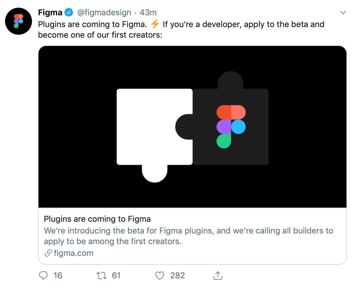 Love this competition between design tools where everyone catches up with impactful missing features from the other one. Collaboration = coming to Sketch Plugins = coming to Figma *Great* for the design community 🙌🖤