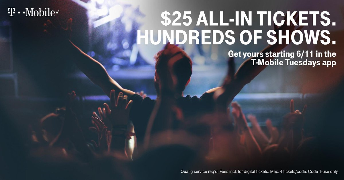 See summer's hottest shows for $25 all-in, including Train & Goo Goo Dolls, Blink-182 & Lil Wayne, Wiz Khalifa, Brad Paisley and more. Download the #TMobileTuesdays app now to get your tickets.  https:// livemu.sc/2ZpfdOp    <br>http://pic.twitter.com/E8KflVhIUX