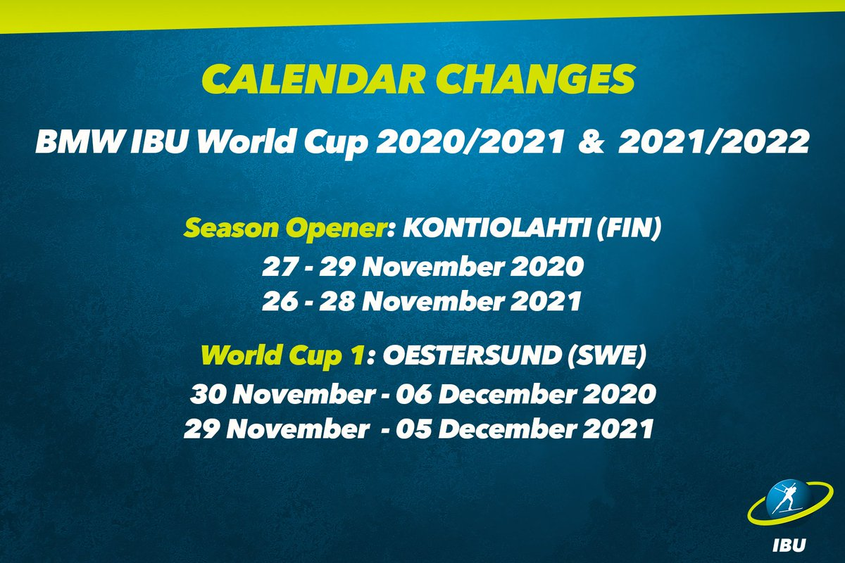 World Cup 2020 Calendar.Changes To The Bmw Ibu World Cup Calendars 2020 2021 Amp 2021 2022