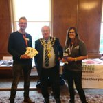 MEA's Pete with the Mayor of @ChesterfieldBC , Cllr Gordon Simmons, and Tracey Jagger from #LiveLifeBetterDerbyshire. He's promoting #WarmerDerbyandDerbyshire. If you live in the area and you're struggling with energy bills or a cold home call us: 0800 677 1332. @DCCPublicHealth