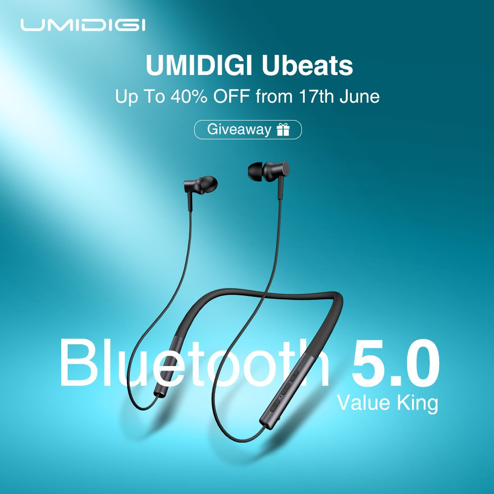 Introducing the UMIDIGI Ubeats and GIVEAWAY!! Latest Bluetooth 5.0, 12h playtime and ergonomic neckband design! #Ubeats Global sale at $19.99 on June 17 on AliExpress Add to cart first  http:// ali.pub/3fqtzx     30 winners giveaway  http:// bit.ly/umiUbeats    <br>http://pic.twitter.com/DBR4YZglBA