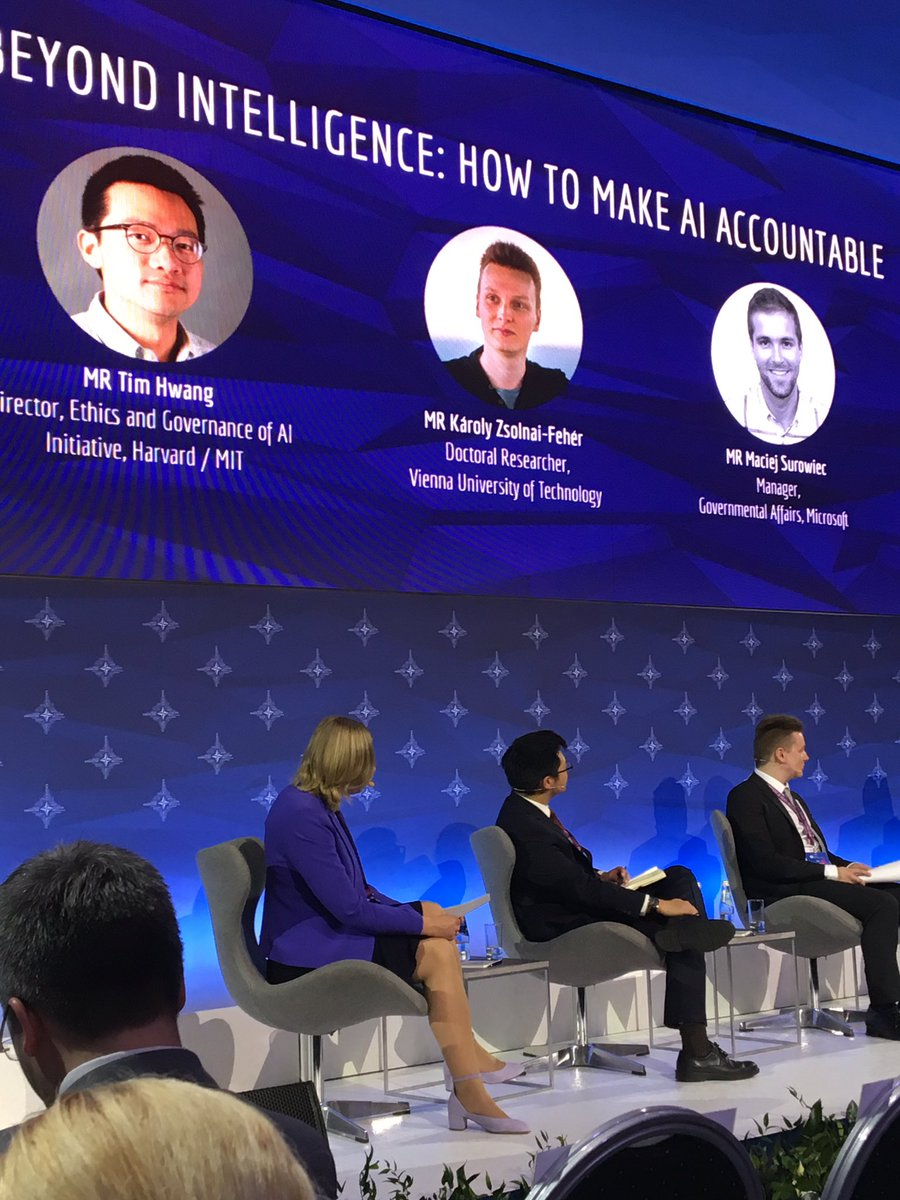 The biggest threat to the integrity of communication is not technologically elaborate deep fakes but simple AI based social media algorithms and so-called cheapfakes, says @timhwang of Harvard/MIT speaking at #RigaStratCom panel discussing how to make AI accountable.