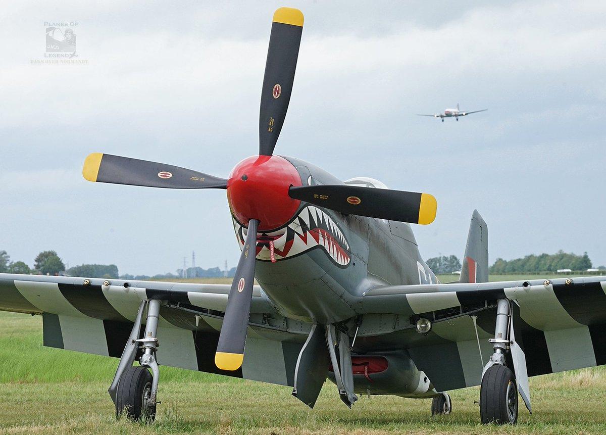 """🛩️ #Caen #Carpiquet #Dc3 #C47 #AvGeek #DDay75 #DaksOverNormandy  June 7, ©Planes Of Legend. Caen-Carpiquet, France. North American P-51D Mustang G-SHWN """"Shark Mouth"""" #mustang #p51 #p51mustang https://www.flyinglegends.com/aircraft/north-american-p51d-mustang-g-shwn.html…"""