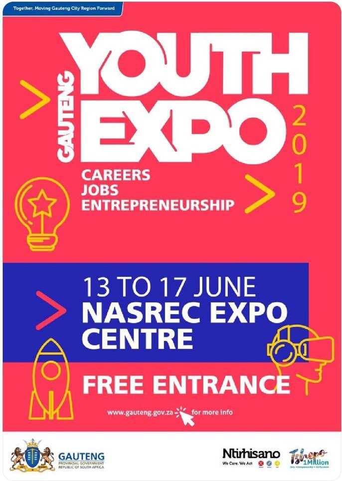 If you're interested in attending the Gauteng Youth Expo 2019, you may register on https://t.co/CrO1QEcTYf   Entrance is free. #GPYouthExpo19 https://t.co/tqINsCZ2qR