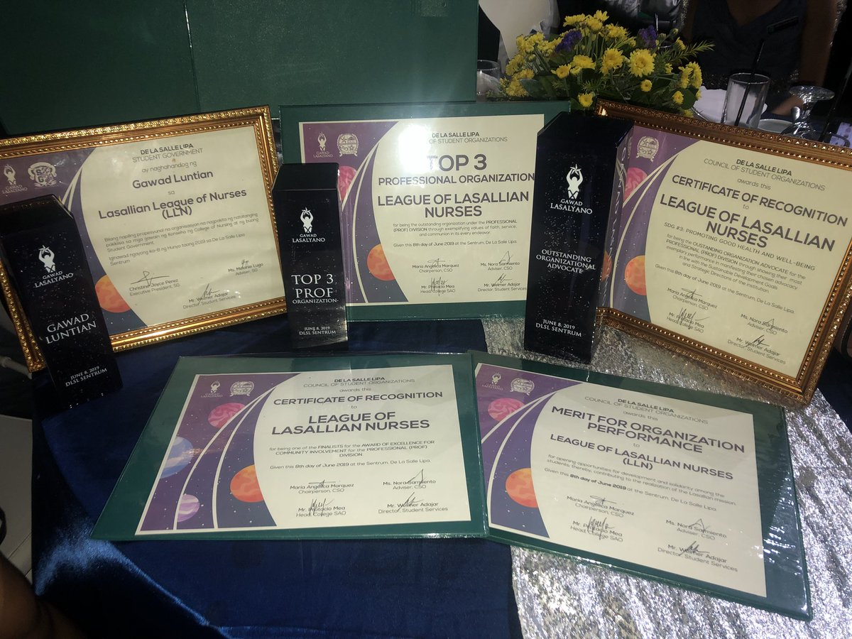 A promise fulfilled.   Thank you, student nurses, for your support and cooperation to all our activities. This is for you!   Thank you also to @DLSLSG, @DLSLCSO and to the CSAO for these awards!  To God be the glory!<br>http://pic.twitter.com/nTZcl6o4pf