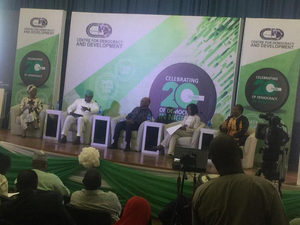 """""""We need to focus on the young minds; When we catch them young and inculcate positive values in them, we get to change the status quo,"""" says @OnyinyeOugh  #NGDemocracyAt20 #DemocracyAt20<br>http://pic.twitter.com/qdtgddgxjo"""