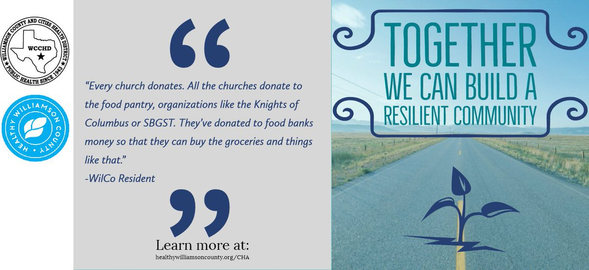 Resiliency is a focus on our community's ability to utilize available resources to respond to, withstand, and recover from bad situations.To learn more about resiliency in Williamson County visit: http://www.healthywilliamsoncounty.org/cha#2019CHA #HealthyWilliamson