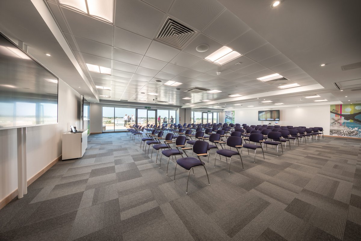 The Bridge #Conference Suite - The largest of our several meeting room spaces! The Bridge is made to #impress, with a capacity of 100 people and full use of the conference suite terrace, with amazing #views overlooking #Daedalus Airfield! #Enquire today for your next meeting