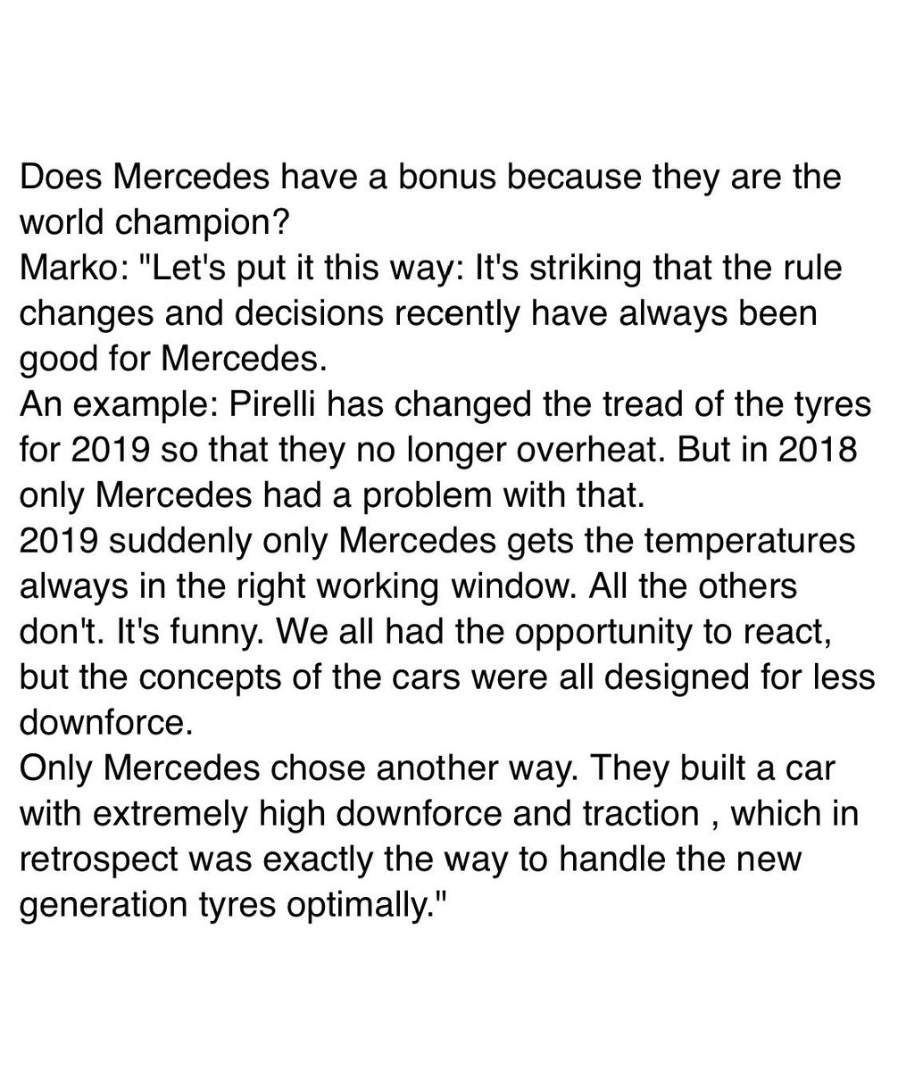 [Autobild] Does Mercedes have a bonus because they are the F1 world champion?  Helmut Marko has a very strong opinion about that..  https://www.autobild.de/artikel/formel-1-red-bull-boss-sauer-nach-kanada-15021909.html…  #F1
