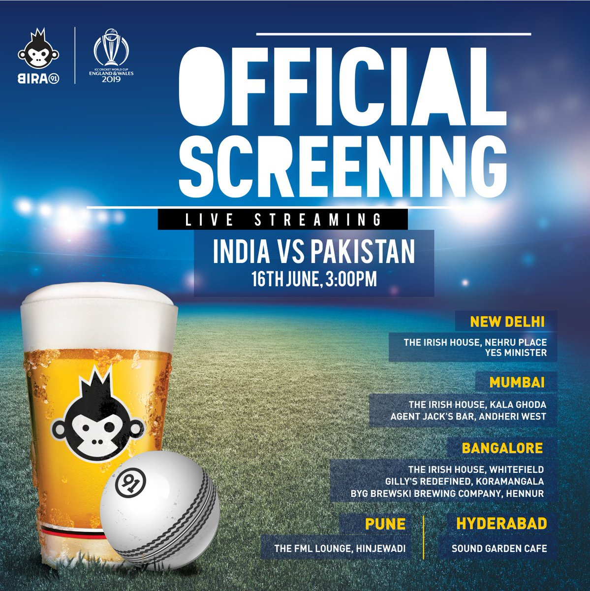 This is going to be one cracker of a game! Catch the Bira 91 x ICC Cricket World Cup Official Screening: India VS Pakistan on 16th June.🍻#Bira91 #CWC19 #IndVsPak @theirishhousein @YesMinisterDEL @Big_Brewsky @SoundGardenHyd @agent_jacksbar #GillysRedefined