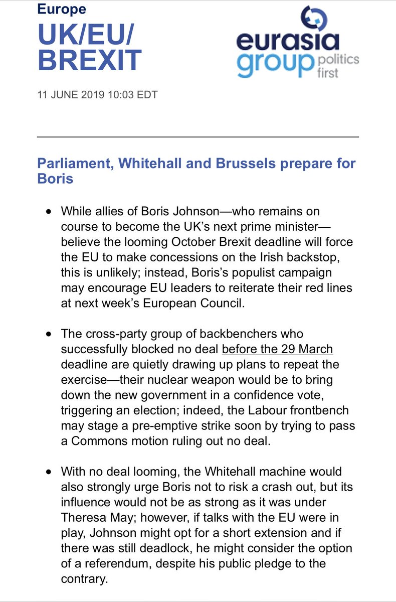 A ⁦@BorisJohnson⁩ premiership is looming. And Parliament, Whitehall and Bxl are preparing. Latest #Brexit piece