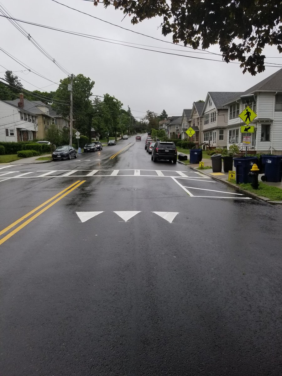 More work being done by @BostonBTD at the crosswalk at Lagrange Street and Sturges Road. Flex posts will be installed this week as well making it safer for pedestrians to cross the street and access Billings Field #WestRoxbury