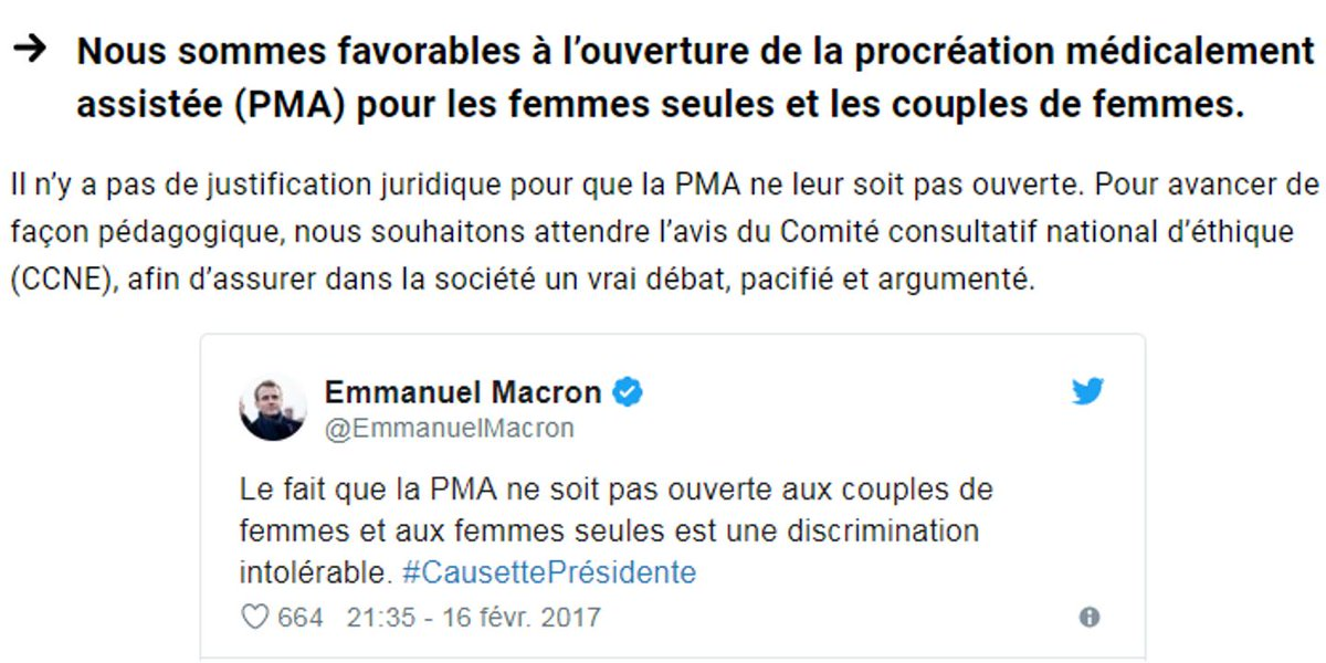 « Pas dans le programme de Macron envoyé aux Français » : l'argument bidon des opposants à la PMA pour toutes http://bit.ly/2wKXQuP