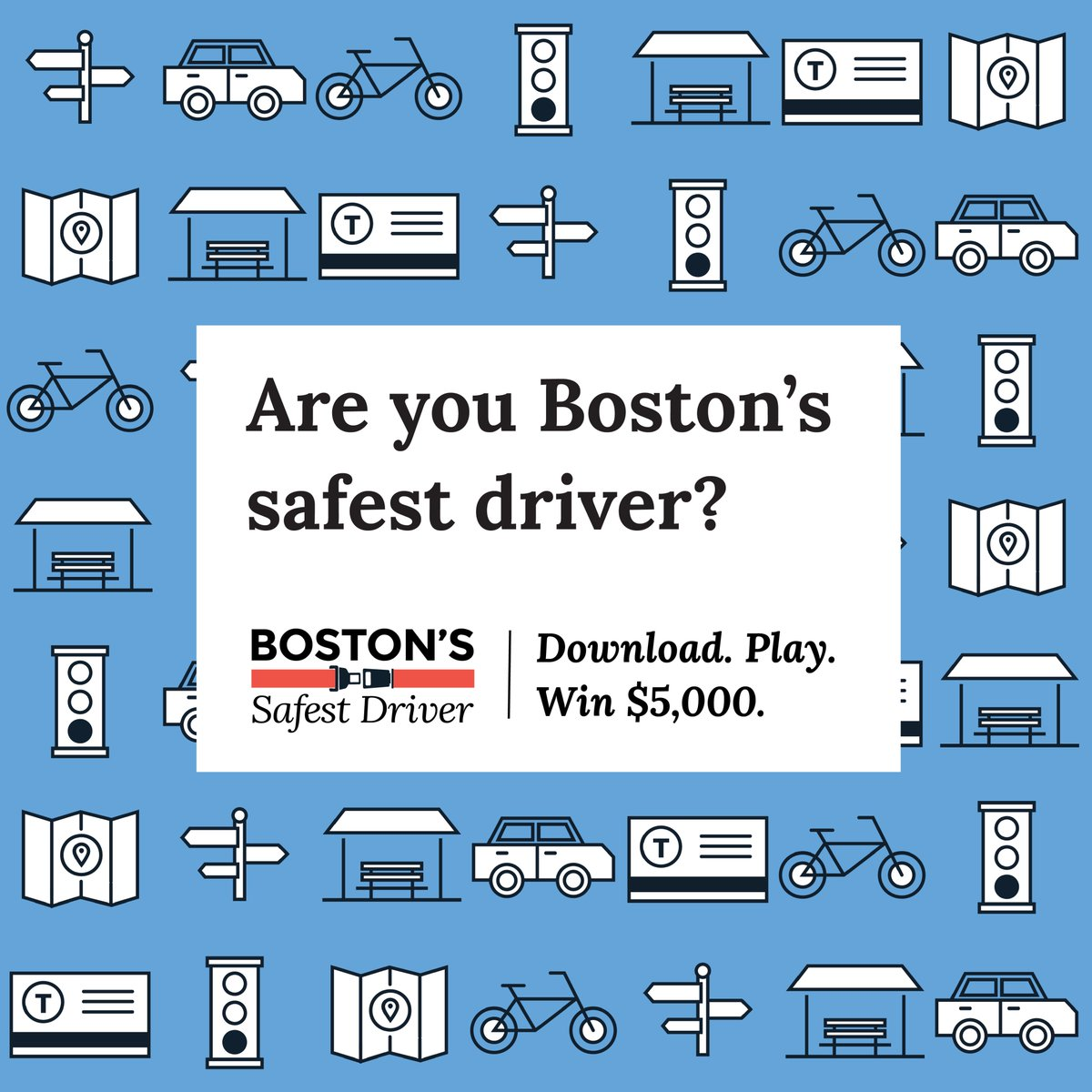 Want to win $$$ for driving safely? Download the Bostons Safest Driver app today! Biweekly prizes of $50 and a grand prize of $5,000! Available on iOS and Android. More info at boston.gov/safestdriver