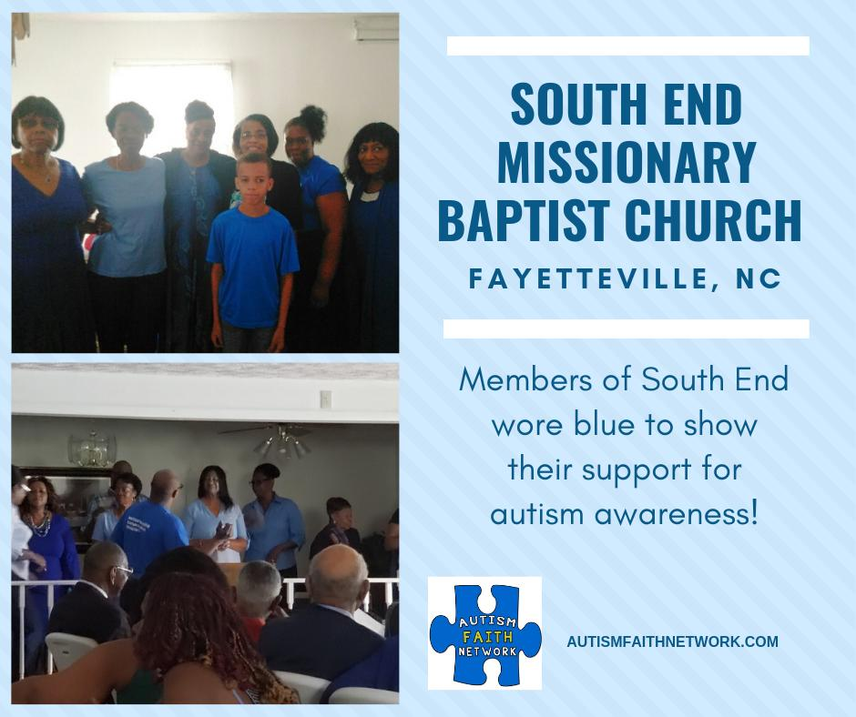 South End Missionary Baptist Church has participated in the Autism Faith Network since 2016.  We appreciate their support for autism awareness! #autism #autismawareness #church #specialneeds #disability #autismawarenessmonth #faith #ministry #inclusion