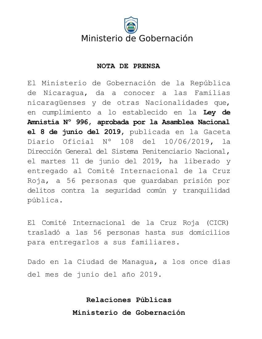 Nota de prensa del Ministerio de Gobernación sobre personas liberadas, en el marco de la Ley de Amnistía y No Repetición.