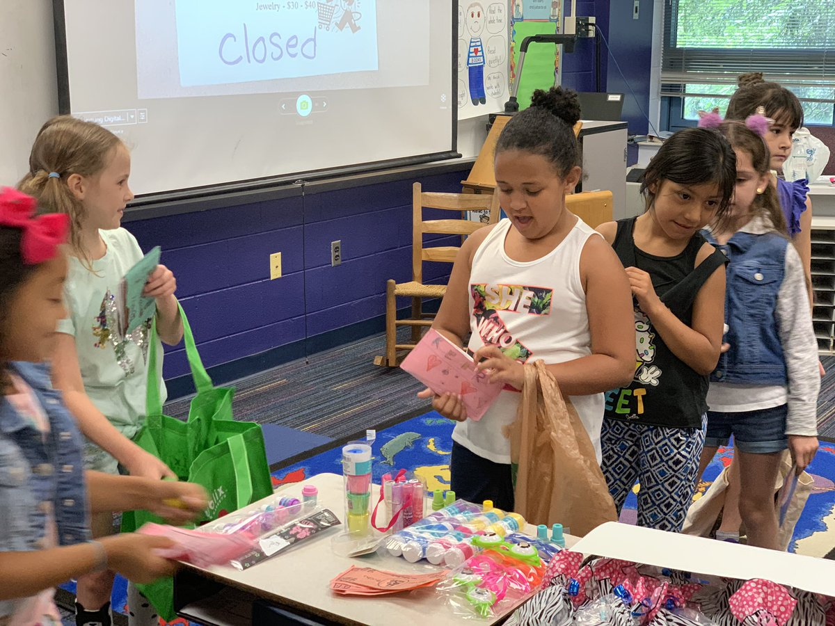 It's Marketplace day for our 1st grade students! They enjoyed using Baker Bucks to provide goods or services for their classmates! The Baker Bucks were earned throughout the last quarter for good behavior! #webelievebearsachieve #goodsandservices #1stgrade #1stgrademath<br>http://pic.twitter.com/jtri3QtZYJ